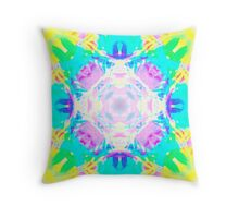 Abstract psychedelic pattern blue yellow Throw Pillow