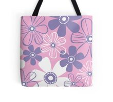 Purple & White Flowers Tote Bag