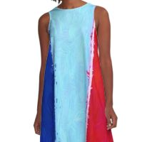 Blue White and Red A-Line Dress