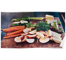 Fresh beet and carrots on wooden background Poster