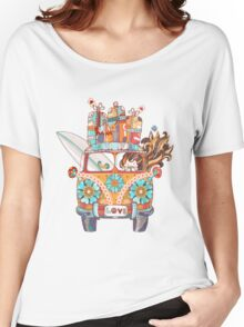 Hand drawn doodle outline retro bus Women's Relaxed Fit T-Shirt