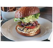Grass Fed Bison Hamburger with Lettuce and Cheese Poster