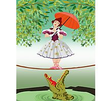 Cute halloween The crocodile girl Deadly circus Photographic Print