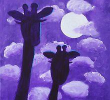 Giraffes at Nightfall by Kari Sutyla