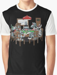 Robot Dogs Playing Poker Graphic T-Shirt