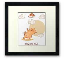Red Yoga Cat in triangle pose Framed Print