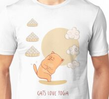 Red Yoga-Cat in Chair pose Unisex T-Shirt