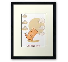 Red Yoga-Cat in Chair pose Framed Print