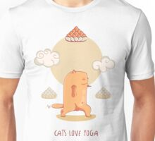 Red Yoga Cat in Crescent Pose Unisex T-Shirt
