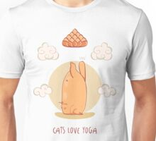 Red Yoga Cat in Tripod Headstand pose Unisex T-Shirt