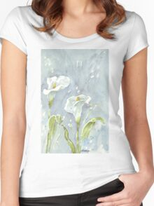 Arum lilies (and fireflies) at night Women's Fitted Scoop T-Shirt