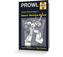 Haynes Manual - Prowl (G1) - Poster & stickers Greeting Card