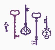 Violet Secret Keys Pattern One Piece - Long Sleeve