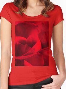 Satin-red rose petals Women's Fitted Scoop T-Shirt