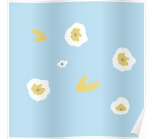 Blue, yellow and white floral Poster