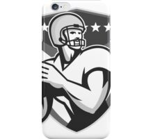 American Football Player Throwing Ball Grayscale iPhone Case/Skin