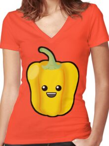 Yellow Pepper Women's Fitted V-Neck T-Shirt