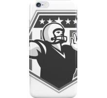 American Football Quarterback Shield Grayscale iPhone Case/Skin