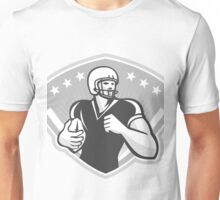 American Football Running Back Crest Grayscale Unisex T-Shirt