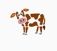 Cool Funky Brown and White Cow Art Unisex T-Shirt