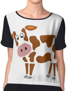 Cool Funky Brown and White Cow Art Chiffon Top