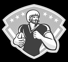 American Football Running Back Crest Grayscale by patrimonio