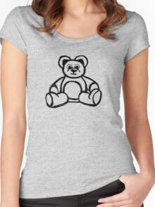 Cartoon Teddy Bear Doodle Women's Fitted Scoop T-Shirt