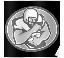 American Football Player Oval Grayscale Poster