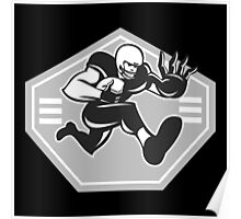 American Football Running Stiff Arm Grayscale Poster