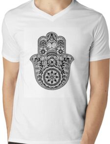 Intricate Hamsa Hand Mens V-Neck T-Shirt
