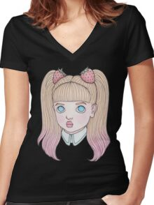 Sweet Strawberry Women's Fitted V-Neck T-Shirt