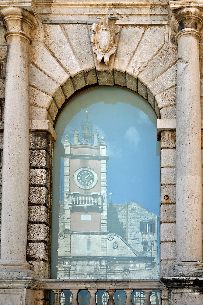 Reflection of a churchtower by Arie Koene
