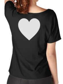 White Heart, Love Heart, Pure & Simple, on BLACK Women's Relaxed Fit T-Shirt