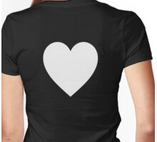White Heart, Love Heart, Pure & Simple, on BLACK Womens Fitted T-Shirt