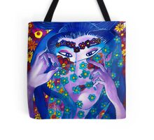 Flower Geisha Hand Drawn Face Tote Bag