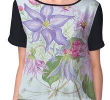 Flowers by Janet Mileham White Chiffon Top