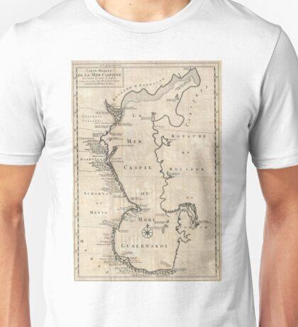 Vintage Map of The Caspian Sea (1730) Unisex T-Shirt