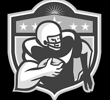 American Gridiron Wide Receiver Running Grayscale by patrimonio