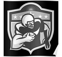 American Gridiron Wide Receiver Running Grayscale Poster