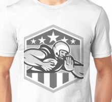 American Football Running Back Fend-Off Crest Grayscale Unisex T-Shirt