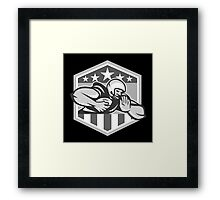 American Football Running Back Fend-Off Crest Grayscale Framed Print