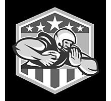 American Football Running Back Fend-Off Crest Grayscale Photographic Print
