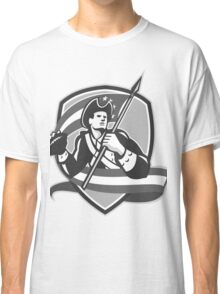 American Patriot Football Soldier Shield Grayscale Classic T-Shirt