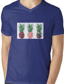 3 Patterned Pineapples Mens V-Neck T-Shirt