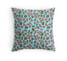 Whole Watermelons Wedged and Sliced Pattern on Sky Blue Throw Pillow