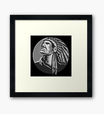 Native American Indian Chief Grayscale Framed Print