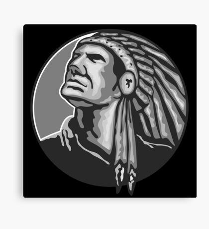 Native American Indian Chief Grayscale Canvas Print