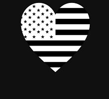 American Flag, REVERSE Heart on Black, Stars & Stripes, Pure & Simple, America, USA Unisex T-Shirt
