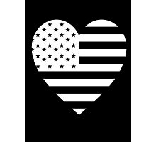 American Flag, REVERSE Heart on Black, Stars & Stripes, Pure & Simple, America, USA Photographic Print