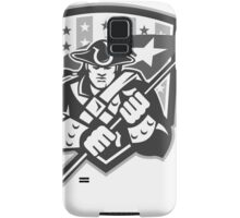 American Patriot Holding Brandish Flag Grayscale Samsung Galaxy Case/Skin